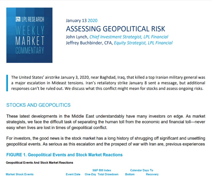 Assessing Geopolitical Risk   Weekly Market Commentary   January 13, 2020