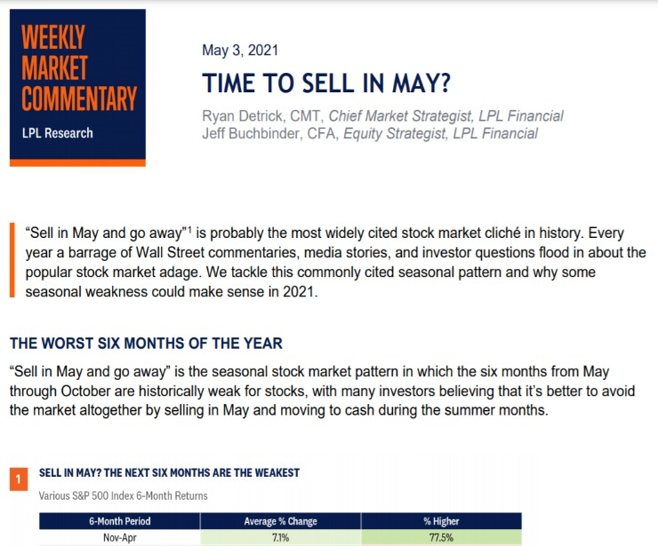 Time To Sell In May? | Weekly Market Commentary | May 3, 2021